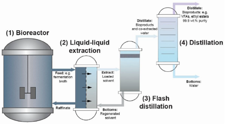 In situ product recovery of bio-based ethyl esters via hybrid extraction-distillation