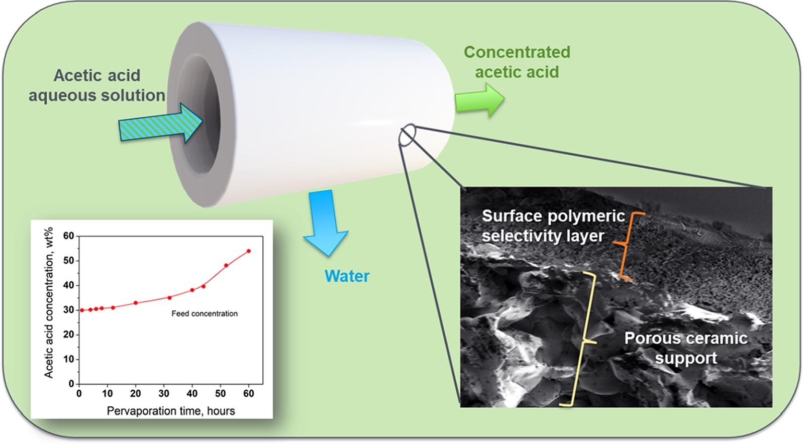 Novel Porous Ceramic Tube-Supported Polymer Layer Membranes for Acetic Acid/Water Separation by Pervaporation Dewatering