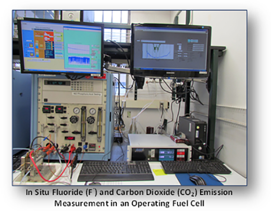 in situ fluoride and carbon dioxide emission measurements