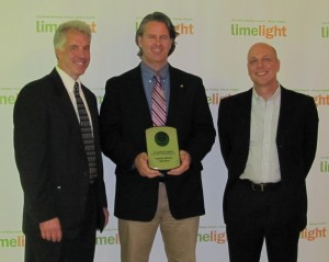 George Norek, Devin Hodge and Mike Dunn (left to right) accepted the USGB-IL award on behalf of Argonne National Laboratory.